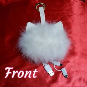 Furry Cell Emergency Charger Purse Bag Charm USB +